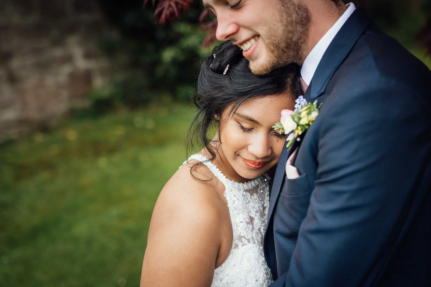 photograph of a wedding couple in a romantic way