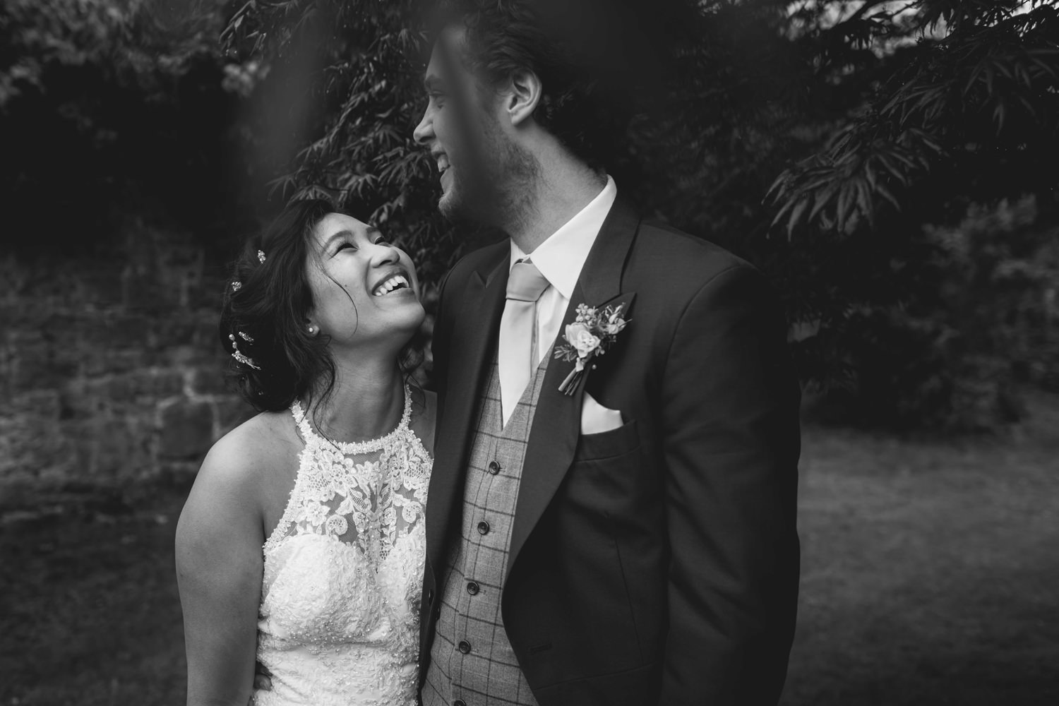 photograph of a couple laughing at Pentre Mawr