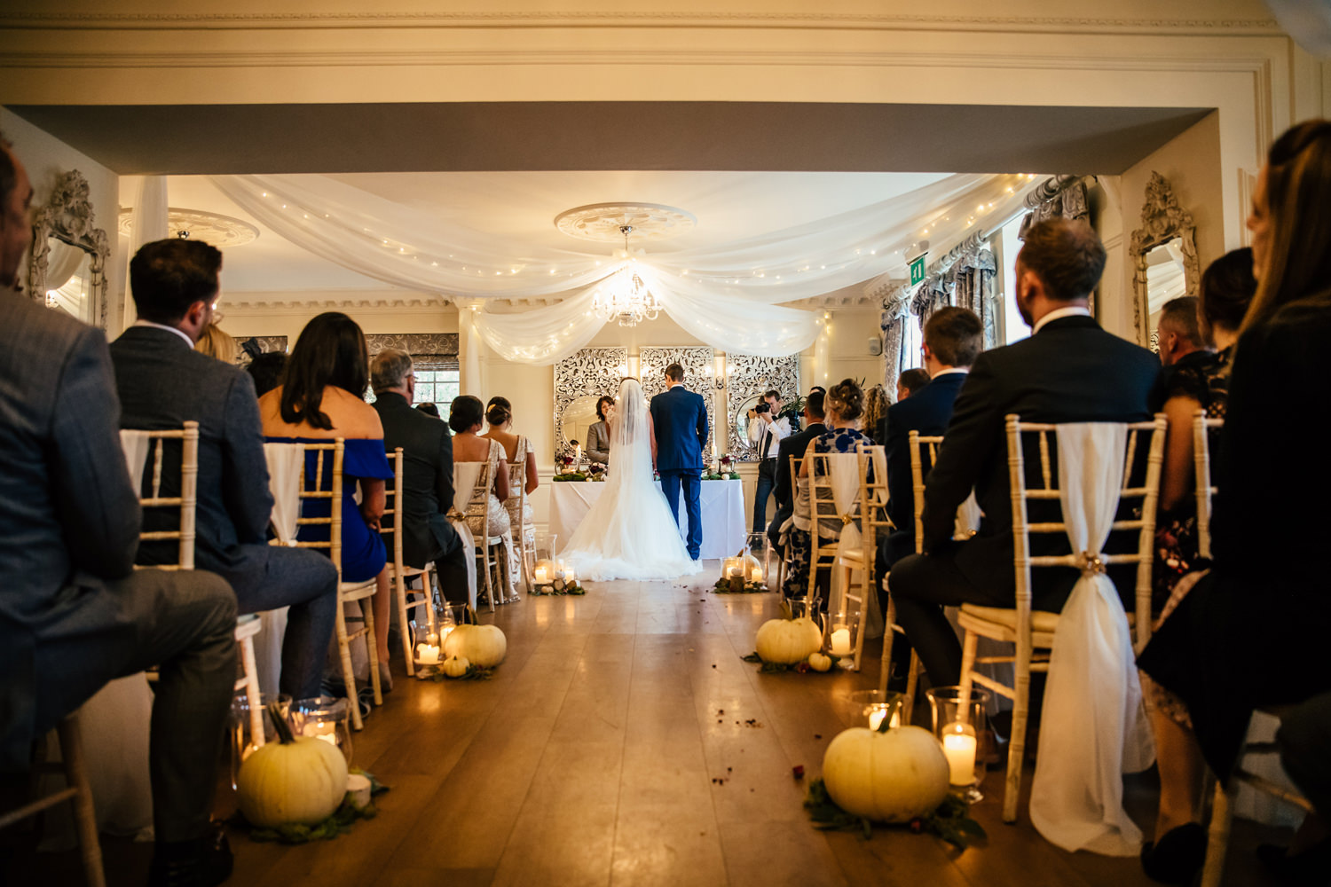 Wedding photography of ceremony at Eaves Hall