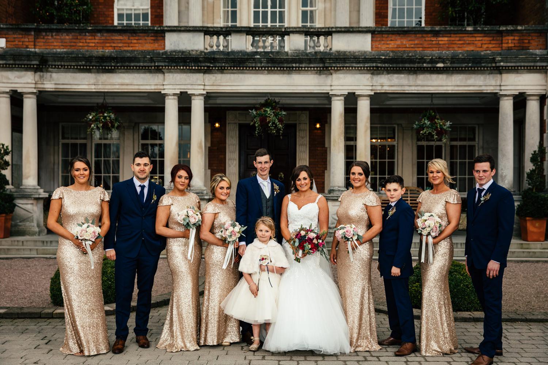 Wedding photography group shot at Eaves Hall