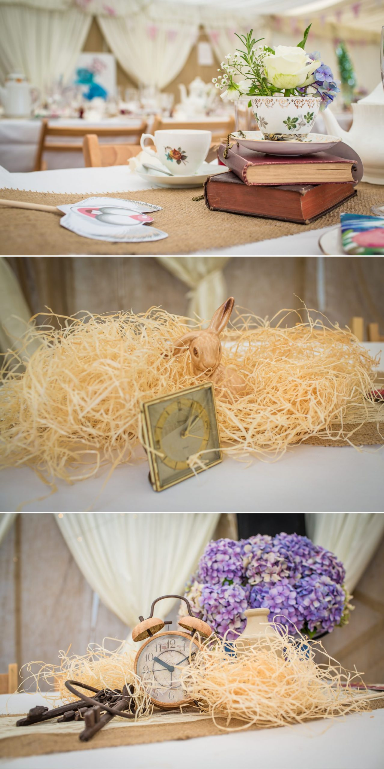 Wedding table decorations of bunnies and clocks
