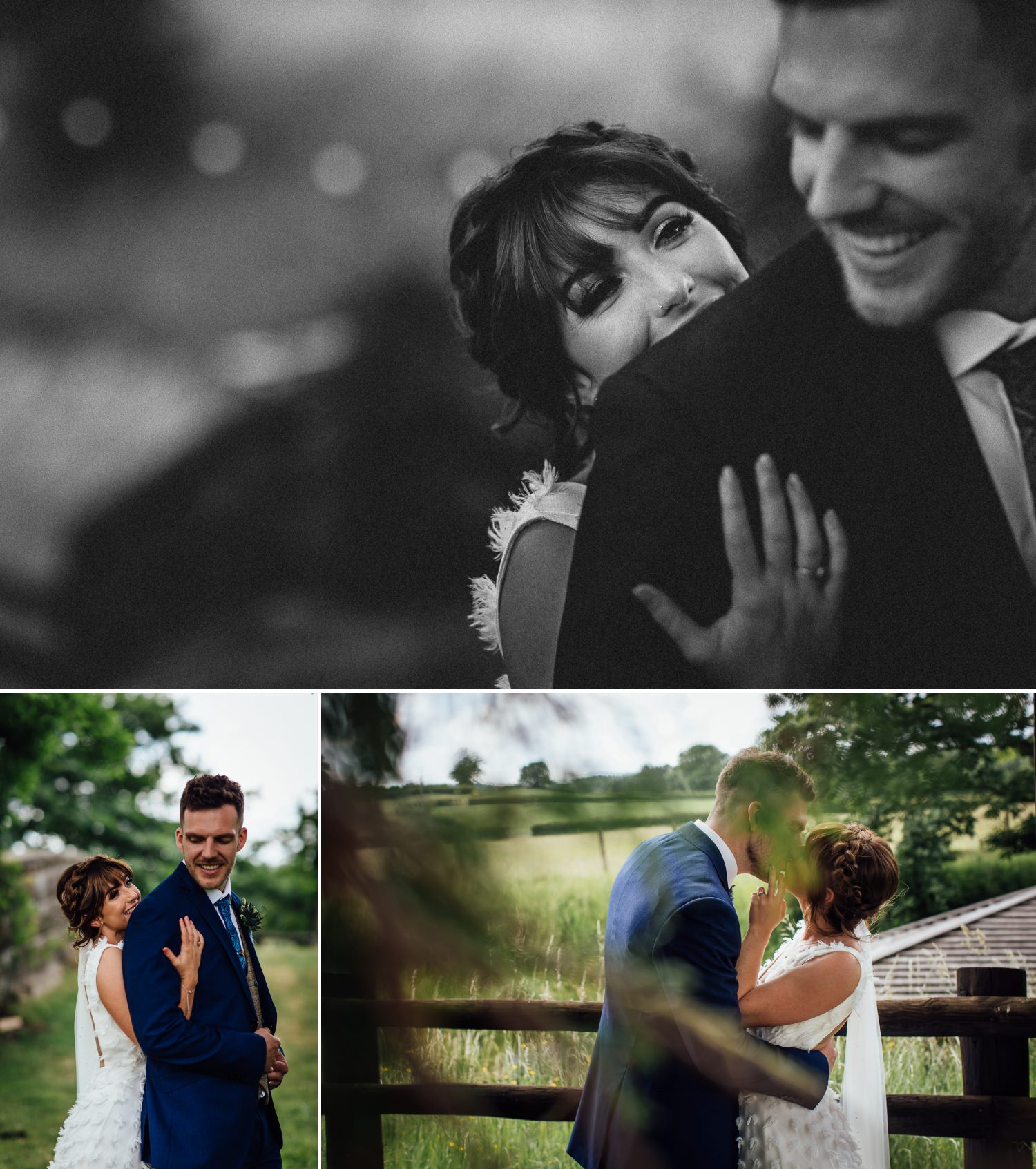 bride and groom in tower hill barns