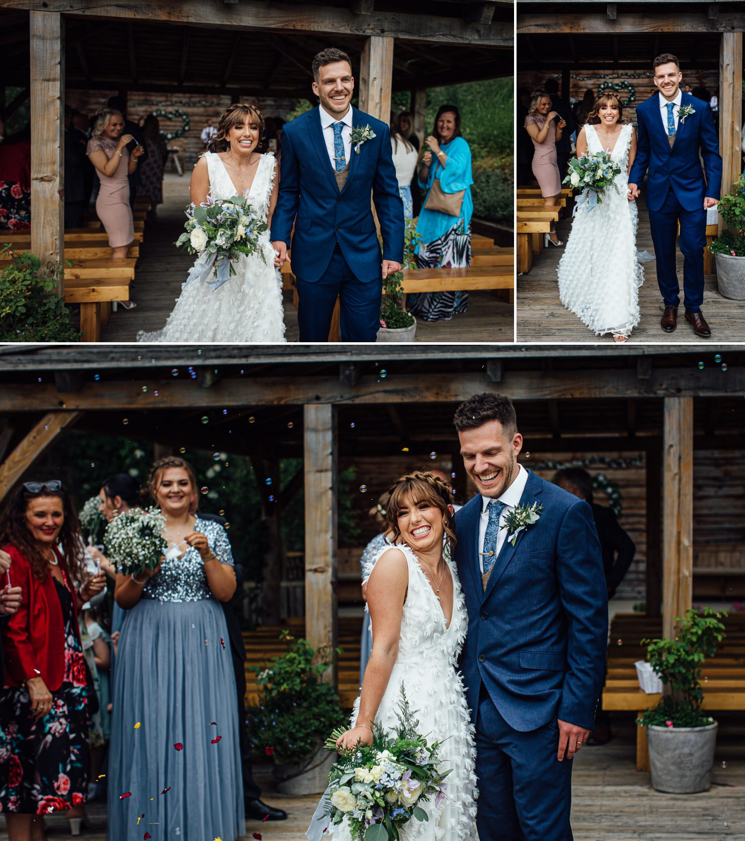 bride and groom under bubbles