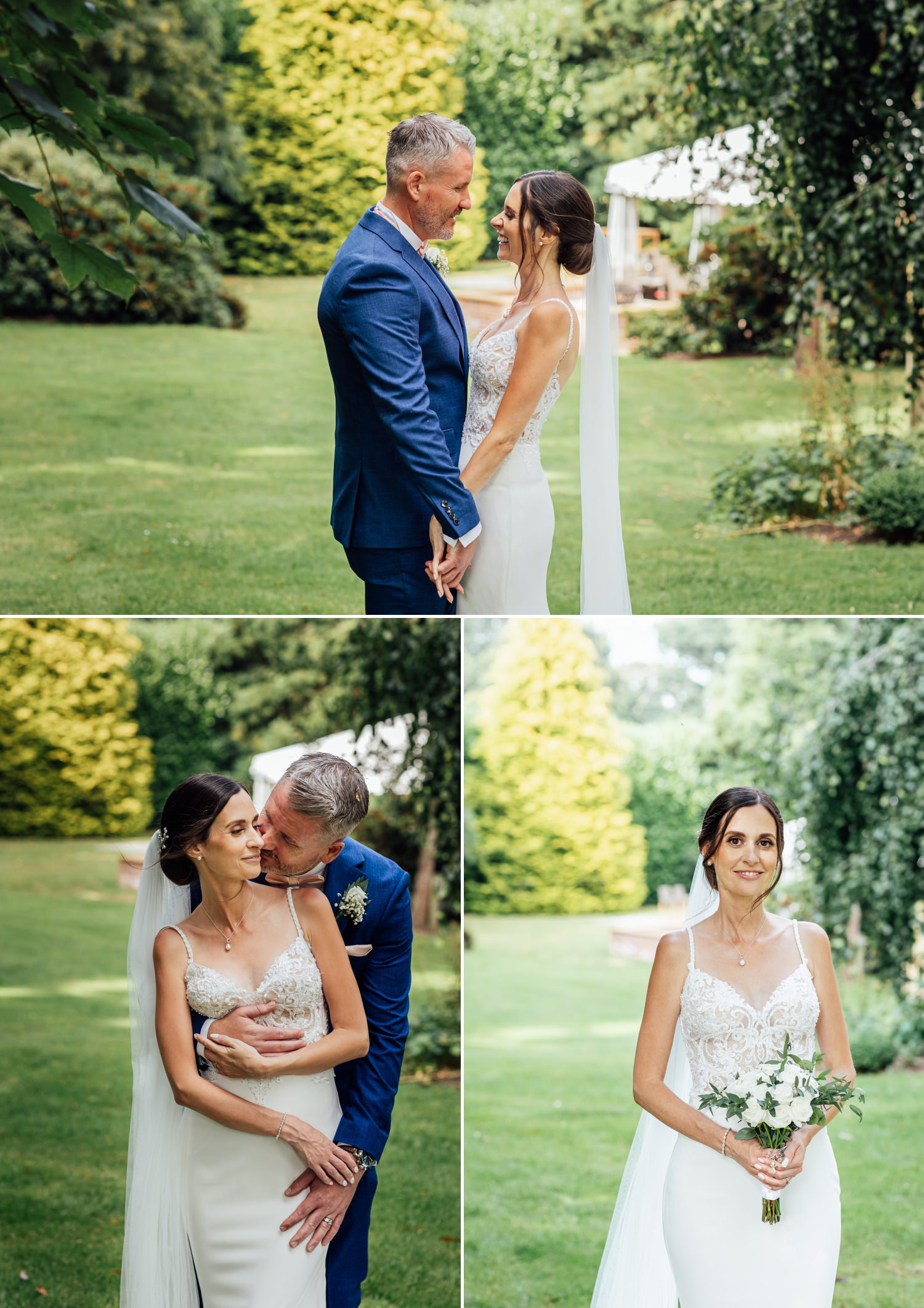 bride and groom in Soughton Hall gardens