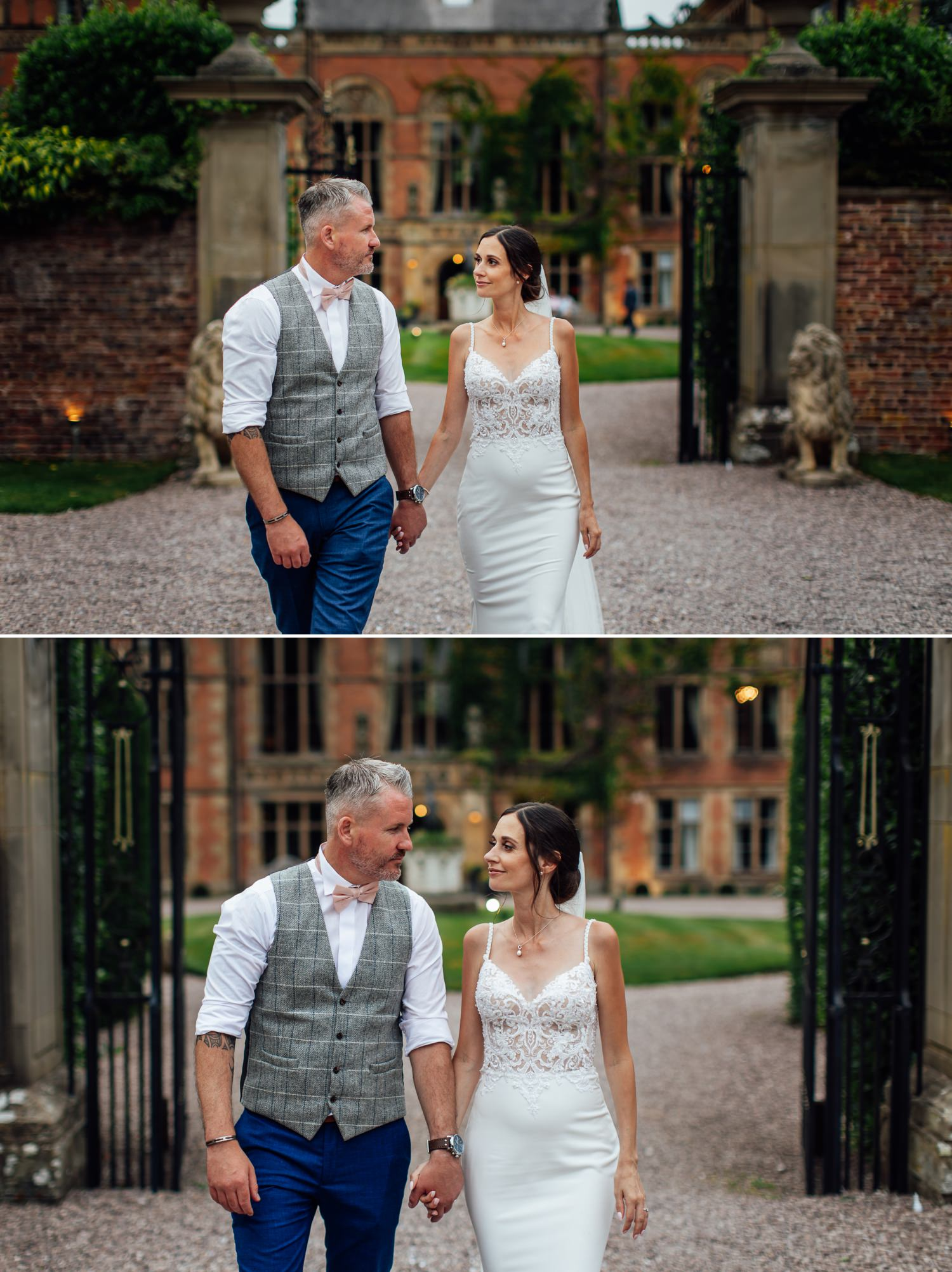 Bride and groom in entrance to Soughton Hall