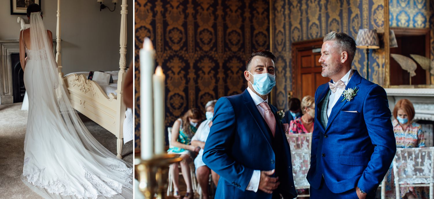 Bride and groom at Soughton Hall
