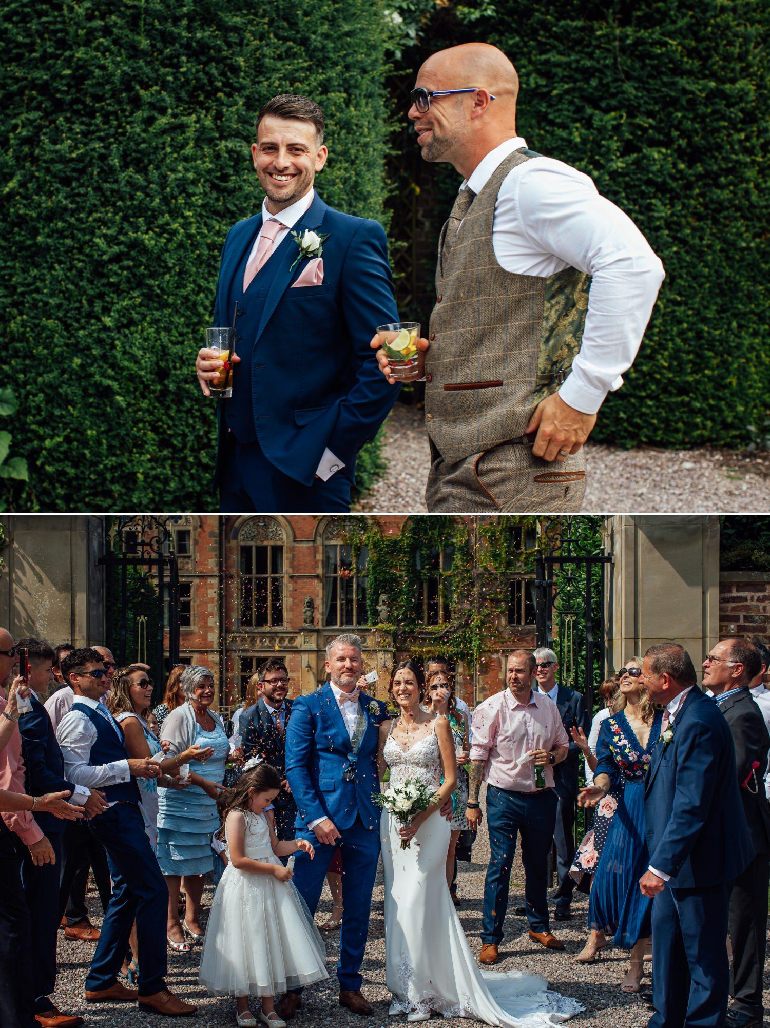 Throwing the wedding confetti